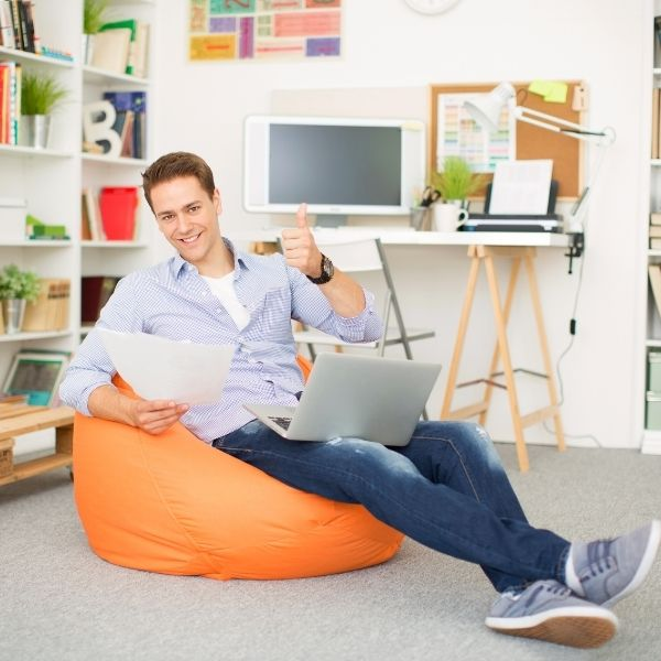 French Conversation Class - guy on beanbag